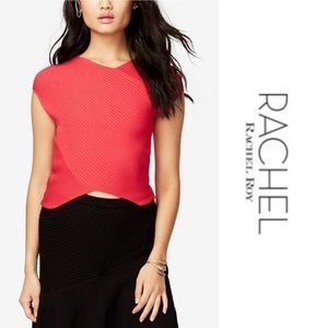 NWT RACHEL Roy Red Ribbed Crop Top Size Large